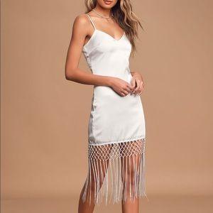 Lulus Dreaming About Love Satin Fringe Midi Dress